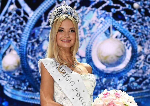 Polina Popova, Miss Russia 2017, tras su victoria.