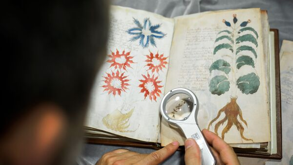 Quality control operator of the Spanish publishing outfit Siloe Luis Miguel works on cloning the illustrated codex hand-written manuscript Voynich in Burgos on August 9, 2016.  - Sputnik Mundo