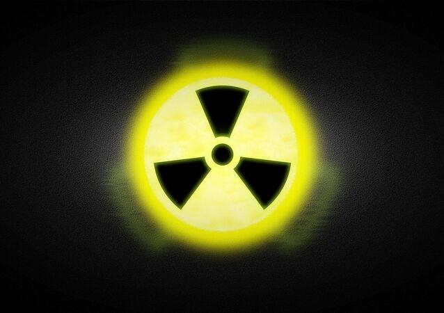 Señal de radiación, foto archivo