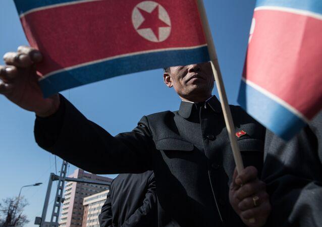 Hombre sujetando bandera de Corea del Norte (archivo)