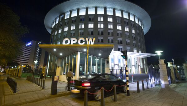 A car arrives at the headquarters of the Organization for the Prohibition of Chemical Weapons, OPCW, in The Hague, Netherlands. - Sputnik Mundo