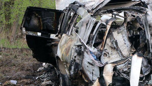 El coche de la OSCE explotado en Donbás - Sputnik Mundo