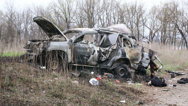 Lugar de explosión de un coche de la OSCE - Sputnik Mundo