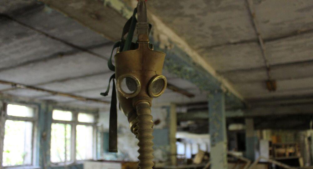 Máscara antigás en Chernóbil