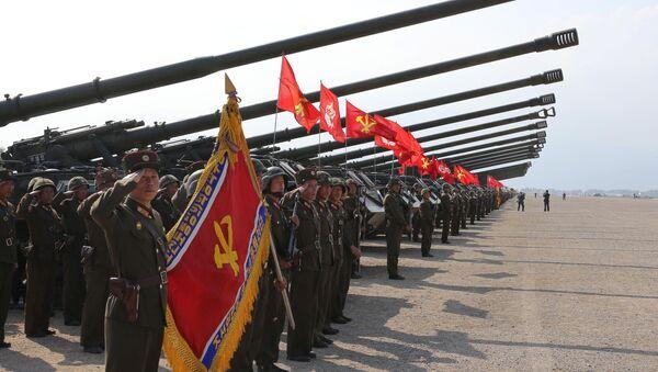Las unidades de artillería norcoreanas antes del inicio de los ejercicios - Sputnik Mundo