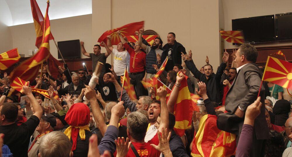 Altercados en el edificio del Parlamento en la República de Macedonia (archivo)