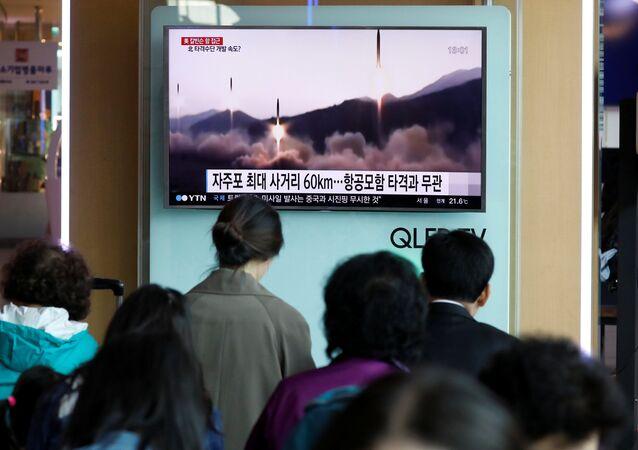Lanzamineto de misiles por Corea del Norte (archivo)