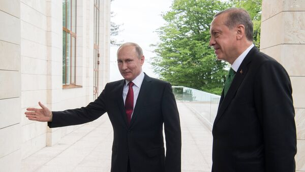 El encuentro de Vladímir Putin, presidente de Rusia, y Recep Tayyip Erdogan, presidente de Turquía - Sputnik Mundo