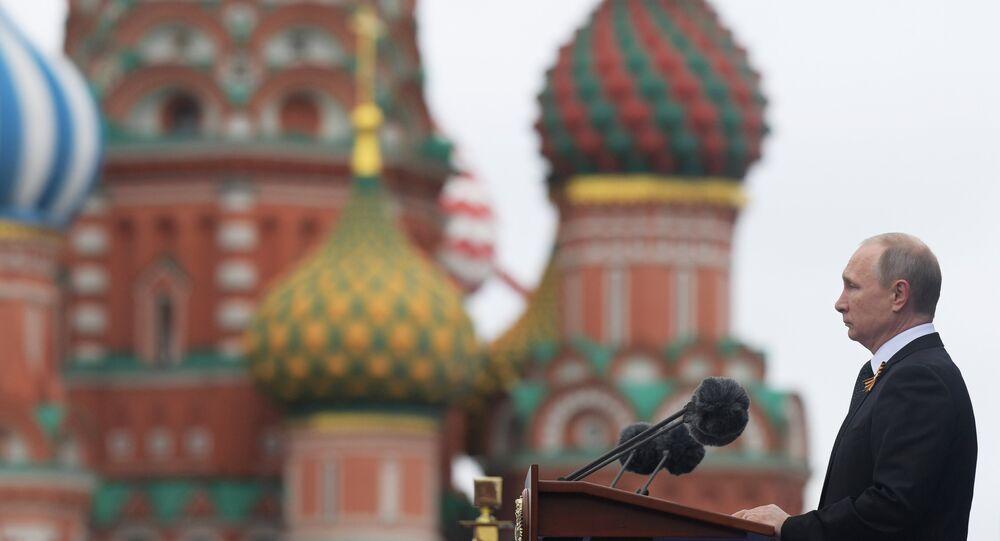 El presidente ruso, Vladímir Putin, en el desfile militar en la Plaza Roja de Moscú, el 9 de mayo de 2017