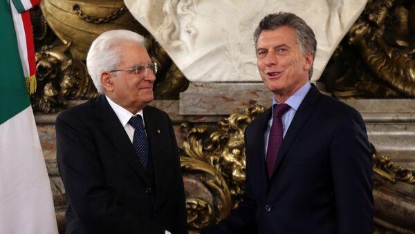 Sergio Mattarella, presidnete de Italia, y Mauricio Macri. presidente de Argentina - Sputnik Mundo