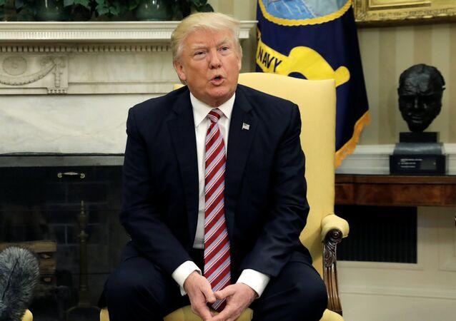 Donald Trump, presidente de EEUU, después de una reunión con Serguéi Lavrov, ministro de Exteriores de Rusia