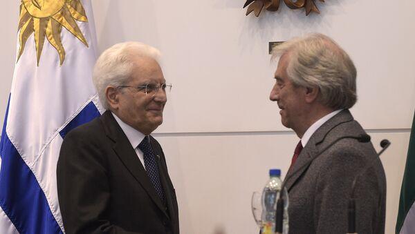 Sergio Mattarella, presidente de Italia, y Tabaré Vázquez, presidente de Uruguay - Sputnik Mundo