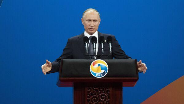 Vladímir Putin, presidente de Rusia, durante su intervención en la inauguración del I Foro de Cooperación Internacional de la Franja y la Ruta en Pekín - Sputnik Mundo
