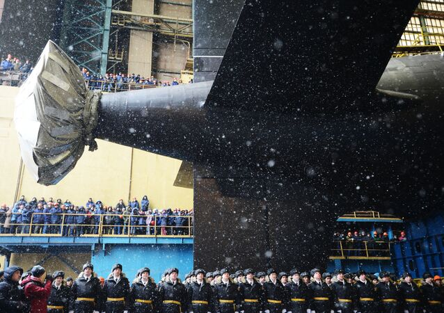 La botadura del submarino Kazan (archivo)