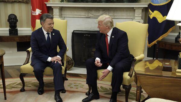 Presidente de Colombia, Juan Manuel Santos, y presidente de EEUU, Donald Trump - Sputnik Mundo