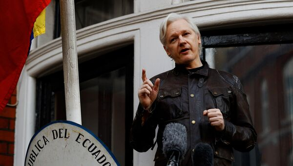WikiLeaks founder Julian Assange is seen on the balcony of the Ecuadorian Embassy in London, Britain, May 19, 2017 - Sputnik Mundo