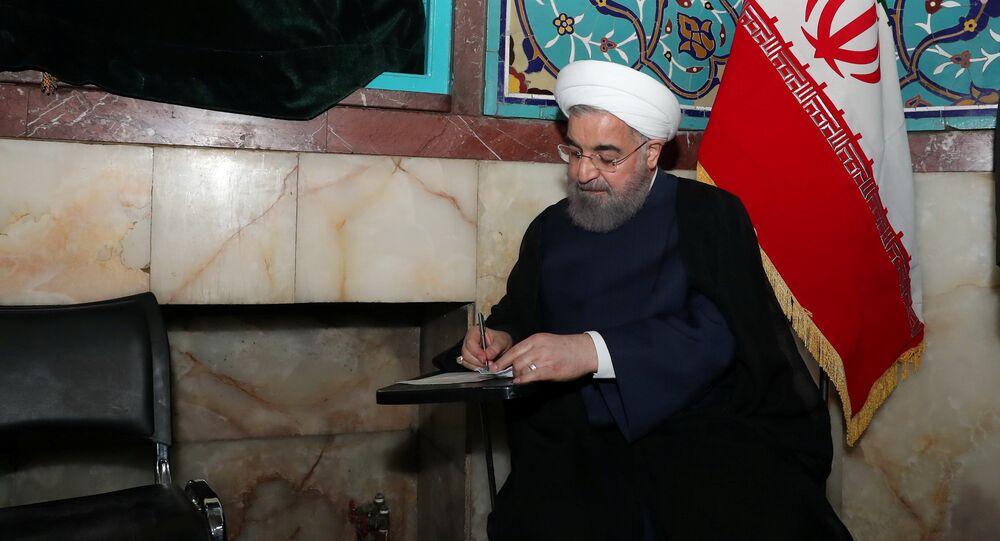 Hasán Rohani, presidente de Irán, durante las elecciones