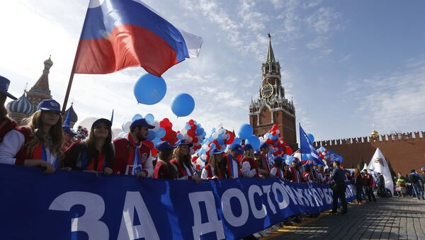 Marcha de los trabajadores rusos el 1 de Mayo - Sputnik Mundo
