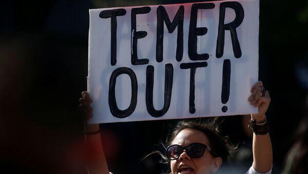 Protesta contra Michel Temer, presidente de Brasil - Sputnik Mundo