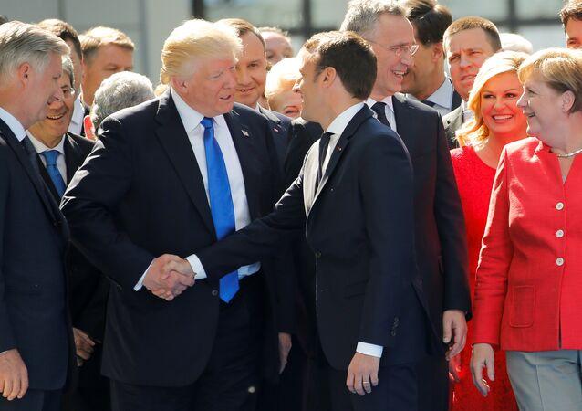 Emmanuel Macron, presidente de Francia, y su homólogo estadounidense, Donald Trump