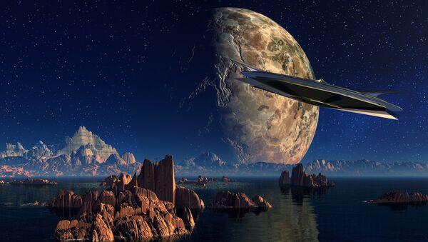 Nave espacial se acerca a un planeta (imagen referencial) - Sputnik Mundo