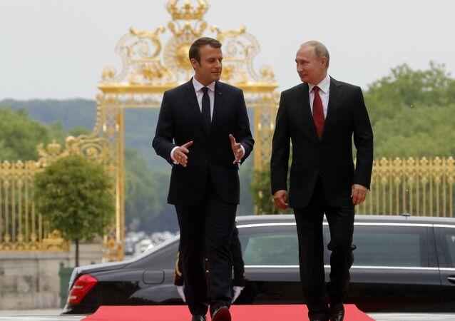 Emmanuel Macron, presidente de Francia, y Vladímir Putin, presidente de Rusia (Archivo)
