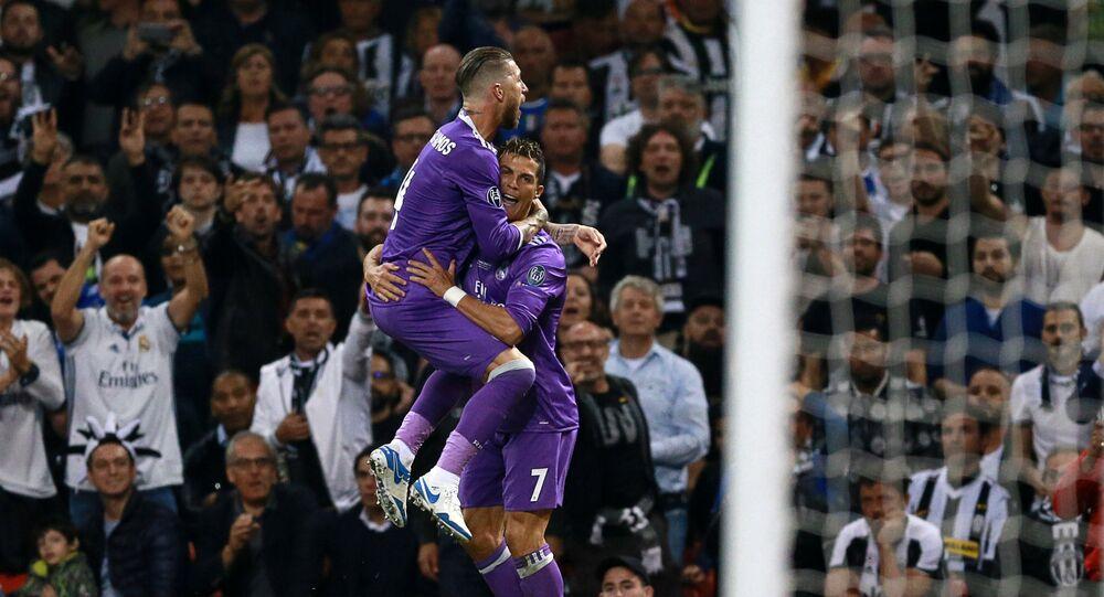 Sergio Ramos y Cristiano Ronaldo del Real Madrid en la final de la Champions League