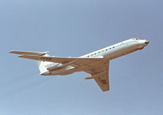 The Aviation Festival dedicated to the 50th anniversary of Great October Revolution at the Domodedovo airport. Tu-134 passenger aircraft.