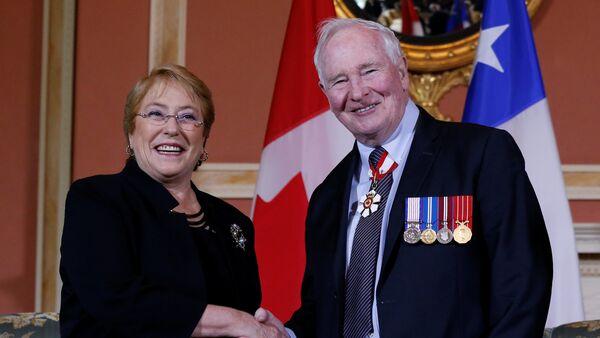 La presidenta de Chile, Michelle Bachelet, y el gobernador general de Canadá, David Johnston - Sputnik Mundo