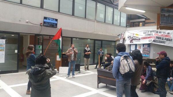 Concentración en la Facultad de Ciencias Sociales de la Universidad de Chile por la causa palestina - Sputnik Mundo