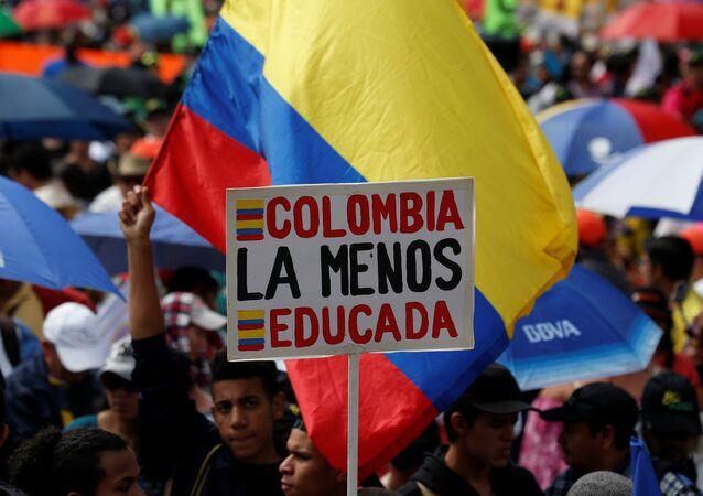 Manifestación de maestros colombianos (Archivo)