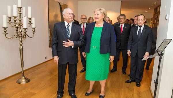 La primera ministra de Noruega, Erna Solberg en su encuentro con el presidente brasileño Michel Temer - Sputnik Mundo