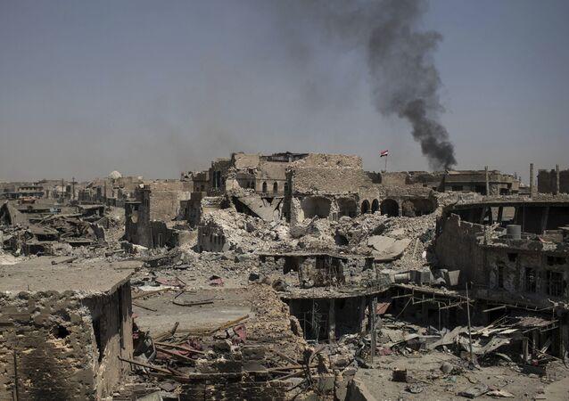 Las consecuencias de una explosión en Mosul, Irak (archivo)