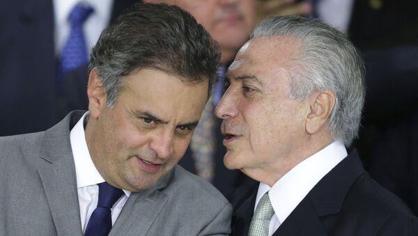 Senador brasileño Aécio Neves, y presidente de Brasil, Michel Temer - Sputnik Mundo