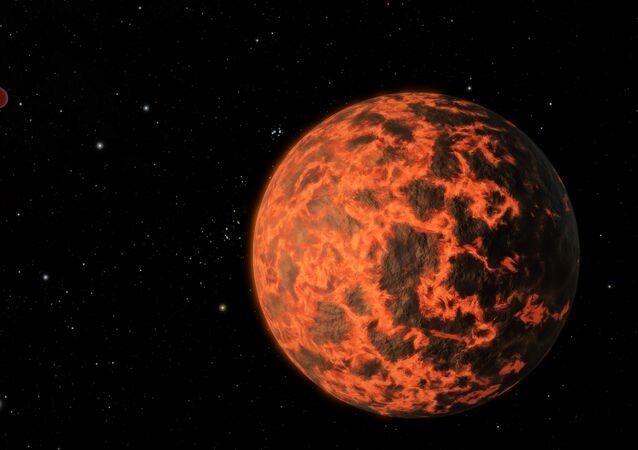 Planeta de lava (ilustración gráfica)
