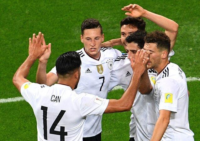 Jugadores de la selección alemana durante la semifinal de la Copa Confederaciones