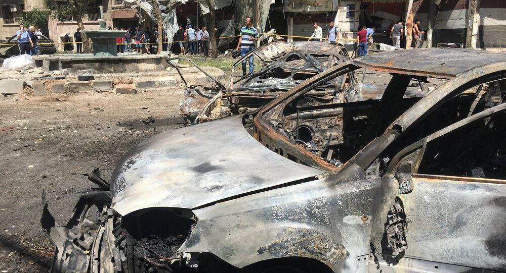 Lugar de explosión en Damasco (archivo)