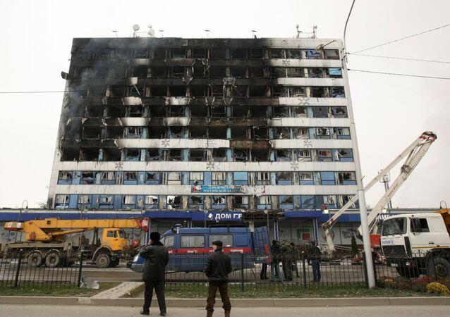 Casa de la Prensa de Grozni, Rusia, tras el ataque (archivo)