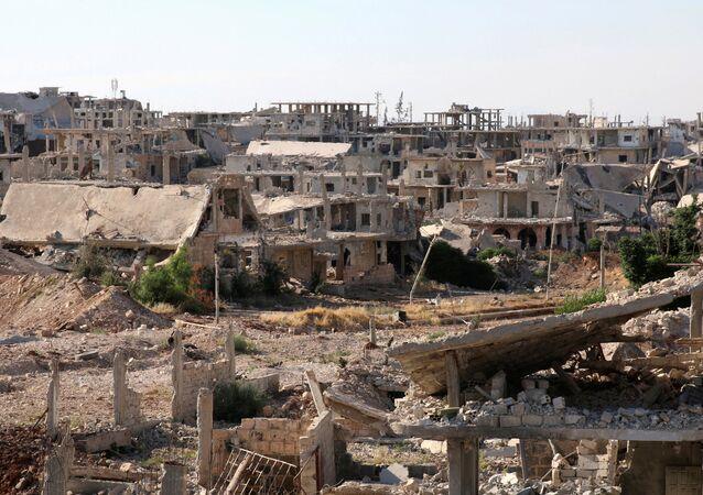 Edificios destruidos en Deraa, Siria