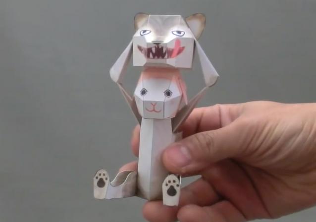 Un autómata de papel creado por Haruki Nakamura