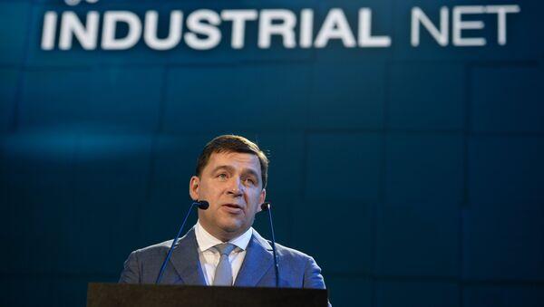El gobernador de la región rusa de Sverdlovsk Evgueni Kuivashev en la exposición internacional Innoprom 2016 - Sputnik Mundo