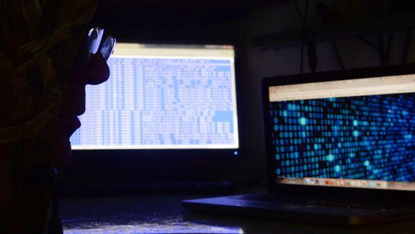 Un hombre delante de una pantalla de ordenador - Sputnik Mundo