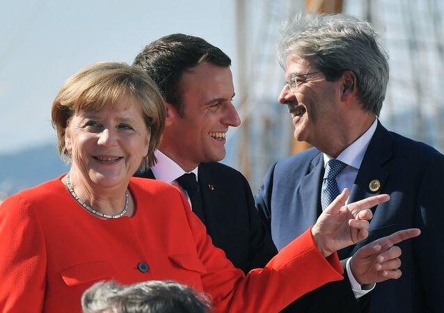 La canciller alemana, Angela Merkel, el presidente de Francia, Emmanuel Macron y el primer ministro italiano Paolo Gentiloni