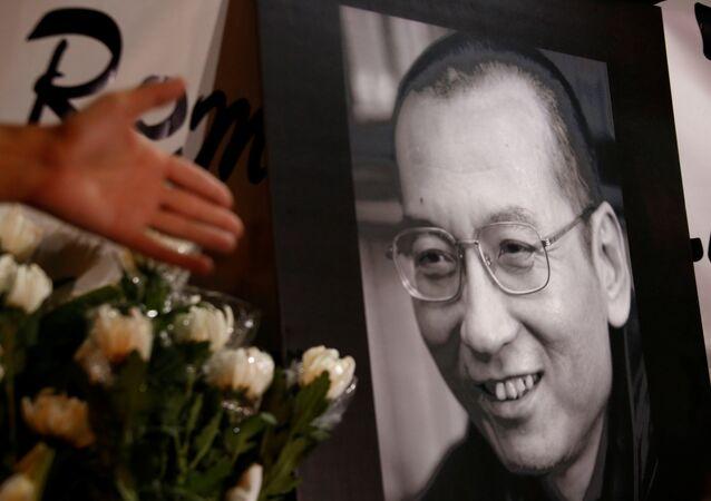 El retrato del disidente chino y premio Nobel de la Paz, Liu Xiaobo