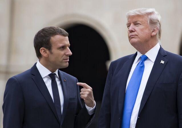 El presidente estadounidense, Donald Trump, y el mandatario francés, Emmanuel Macron