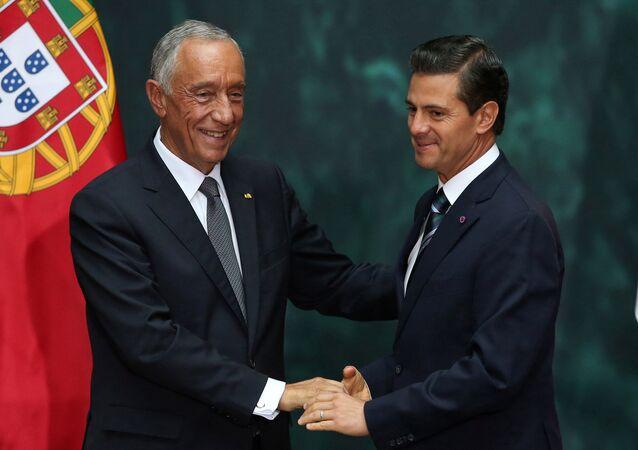 Enrique Peña Nieto, presidente de México, y su homólogo portugués, Marcelo Rebelo