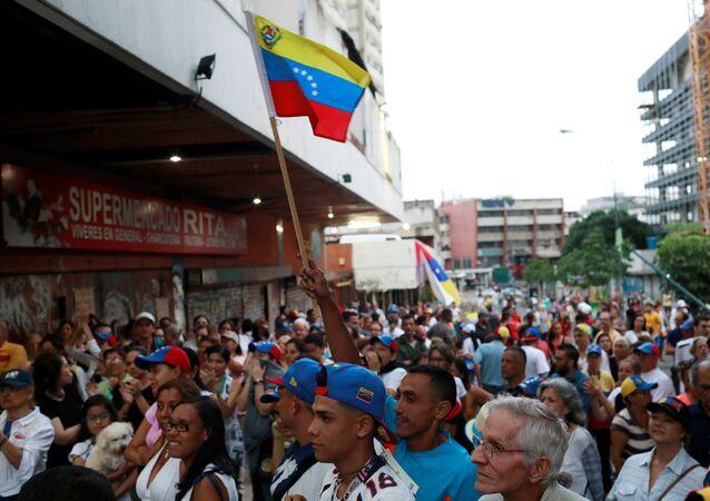 Simpatizantes de la oposición venezolana en Caracas