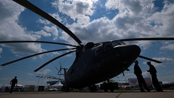 Un helicóptero Mi-26 en el Salón Aeroespacial Internacional MAKS 2017 - Sputnik Mundo