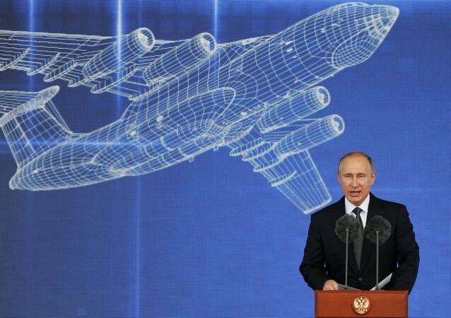 Vladímir Putin, presidente de Rusia durante su discurso en la ceremonia de apertura del MAKS 2017