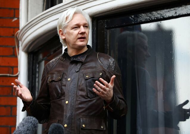 Julian Assange, fundador de Wikileaks, en la embajada de Ecuador en Londres
